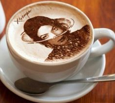 If only we could wake up with a coffee like that every morning :-) Coffee Love, Pudding, Michael Jackson, Tableware, Desserts, Mj, Food, Tailgate Desserts, Dinnerware