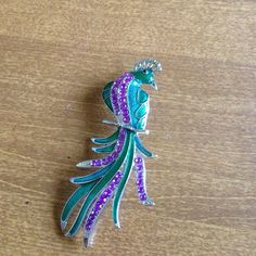 """Spotted while shopping on Poshmark: """"Peacock pin""""! #poshmark #fashion #shopping #style #Jewelry"""