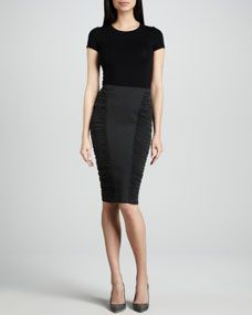 Donna Karan Pencil Skirt with Side Ruching