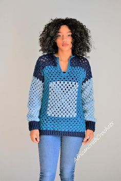 This listing is for the above granny square pullover. COLOR(s): Blues MATERIAL: 100% Acrylic yarn CARE: Machine washable and dryable. RETURN/ REFUND POLICY: No Refunds or Returns. All items are final sale. VERY IMPORTANT: Im NOT responsible for shipping delays once an item leaves my