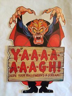 vintage 1980 hallmark halloween screaming count dracula die cut decoration 12x8 - Hallmark Halloween Decorations