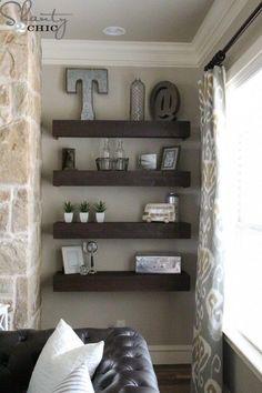 DIY Living Room Floating Shelves via Shanty-2-Chic