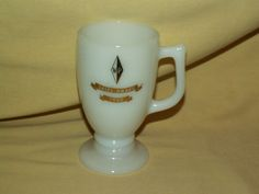 MILK GLASS MUG WP SALES AWARD 1968 IRISH COFFEE TEA CUP FOOTED GOLD TRIM VINTAGE