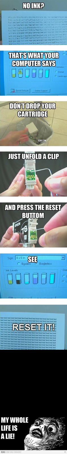 Reset ink cartridge...Total fail!  Look at the cartridge people.  There is no reset button to push!