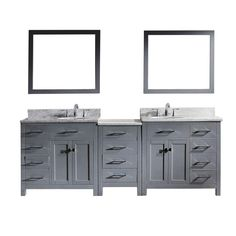 Virtu USA Caroline Parkway 93 in. W x 36 in. H Vanity with Marble Vanity Top in Carrara White with White Round Basin and Mirror