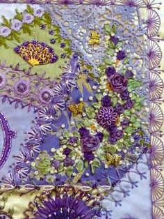 I ❤ embroidery & crazy quilting , Russian handmade Crazy Quilting, Crazy Quilt Stitches, Crazy Quilt Blocks, Crazy Patchwork, Silk Ribbon Embroidery, Embroidery Stitches, Embroidery Patterns, Hand Embroidery, Quilt Patterns