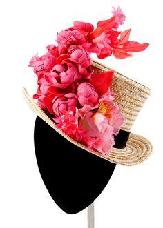 Amazing pink flowered hat! .:MIMOKI:. Tocados