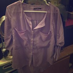 Loose blouse. Sheer flowing blouse. Lavender. Two pockets. Button down. Tops Button Down Shirts