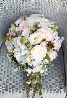 Cascading bridal bouquet / teardrop bouquet / large wedding bouquet / pale blush and ivory wedding flowers