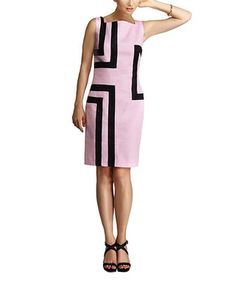 Pink & Black Sleeveless Sheath Dress