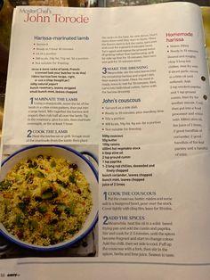 John Torode, Bbq Lamb, Marinated Lamb, French Dressing, Smoked Paprika, Couscous, Chana Masala, Fries, Mint