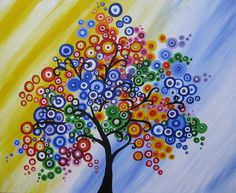 tree painting on canvas purple blue colourful colorful fantasy wall decor decoration painting original tree of life art beach sea. $100.00, via Etsy.