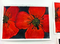 Grade Three Remembrance Day Mohnblumen Schwarzer Kleber und Aquarell Source by