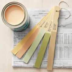 Create paint swatch sticks for each room.