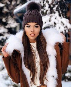 #winter #fashion /  Black Beanie / Brown Fur Jacket / Cream Top