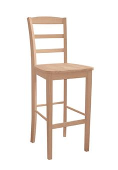 Whitewood Madrid Stool    The Madrid Stool is Solid Parawood    Ready To Stain or Paint    Ships Ready to Assemble    18×16.25×30″  back height:42″(24″ high)  or  47″(30″ high)  Price: $79.99
