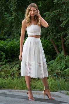 Jessica Hart, Crop top, midi skirt, whites