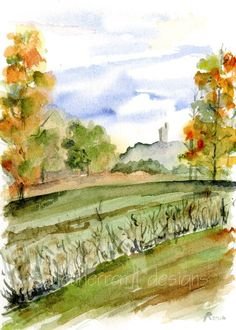Italy watercolor Tuscan Autumn art print by bleuherron on Etsy, $13.00