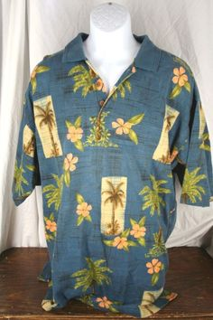 Excellent Tommy Bahama XL 100% Cotton Hawaiian Polo Shirt Men #TommyBahama #Hawaiian