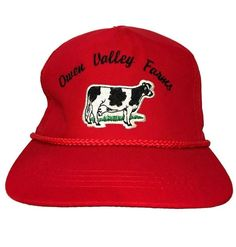 Vtg Owen Valley Farms Hat Holstein Dairy Cow Logo 163c6d49d802