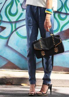 NINA MAYA pants, top & bag. ILLESTEVA shades. ZARA shoes