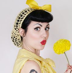 Vintage Retro Pinup Hair Snood in Buttercup by ArtheliasAttic, $19.99