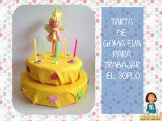 Tarta de cumpleaños de goma eva para practicar el soplo.  http://blogdelosmaestrosdeaudicionylenguaje.blogspot.com.es/2014/05/mi-nueva-tarta-para-practicar-el-soplo.html