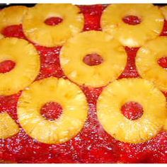 Rhubarb Pineapple Upside-Down Cake (try cutting both sugars in spray and line with parchment on bottom, then flour sides) Rhubarb Desserts, Rhubarb Cake, Rhubarb Recipes, Rhubarb Upside Down Cake, Pineapple Upside Down Cake, Easy White Cake Recipe, White Cake Mixes, Crushed Pineapple, Mini Marshmallows