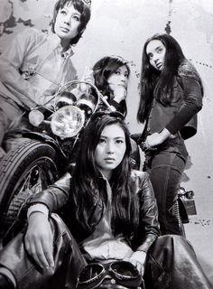 Meiko Kaji, Bunjaku Han and co. in a Stray Cat Rock movie still