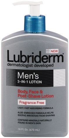 Lubriderm Lubriderm Men's 3-in-1 Lotion, Body, Face and Post-shave Lotion, Fragrance Free, 16  Ounce - Simplify your daily skincare routine with Lubriderm Men's 3-in-1 Lotion. This specialized fragrance free lotion, with minerals and essential moistu