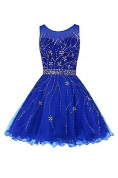 Scoop Royal Blue Tulle Beading Prom Dress Homecoming Dress Sexy Bridesmaid Dress ,Cheap Prom Dress
