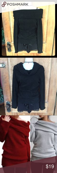 Black Off Shoulder Sweater Cute black sweater, can be worn off shoulder (pics 1 & 3), or as a cowl neck (pic 2), long sleeves have scalloped edges, thick bottom band, sexy slim fit. 1st pic is same sweater, posted to show detail. 100% acrylic. NWT, never worn ❤️💕❣️                                      ❌ Open to offers, but NO LOWBALL OFFERS!           💟 Bundle 2+ items for 15% off 💟 Sweaters Cowl & Turtlenecks