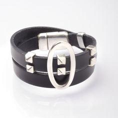 Bracelet double tour cuir esprit Rock'n'Roll !