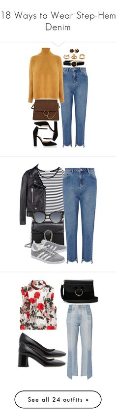 """""""18 Ways to Wear Step-Hem Denim"""" by polyvore-editorial ❤ liked on Polyvore featuring waystowear, stephemdenim, Miss Selfridge, Gianvito Rossi, Warehouse, Chloé, Marc by Marc Jacobs, Chico's, Zara and Acne Studios"""