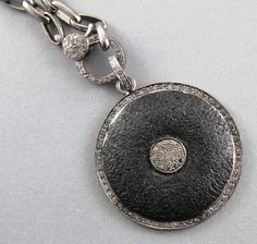Pave diamond pendant pave turquoise pendant diamond turquoise pave diamond pendant pave circle pendant pave matte finish circle with disc pave connector oxidized plated over silver dchpdt1053 aloadofball Images