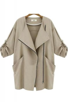 Khaki Turn-down Collar Loose Outerwear