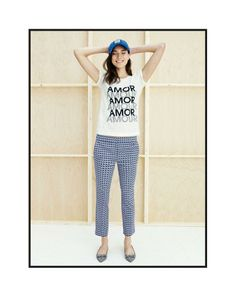 FEB '14 Style Guide: J.Crew Amour tee worn with the Campbell capri pant in abstract wave print.