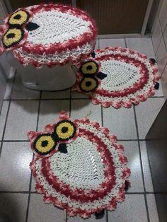 Jogo banheiro croche coruja