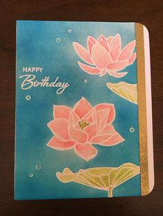 Waffle flower lotus stamp set colored with zig clean color pens (used like watercolors)