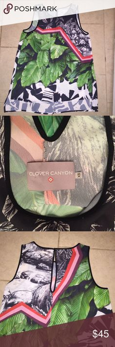"""Clover Canyon tank top XS Beautiful Clover Canyon rainforest hi-lo/asymmetrical tank top with the back measuring 3"""" lower than the front. Size XS. Armpit to armpit measures 17"""" laying flat across. Back key hole button closure. Never worn bc it was a tad too small :( hate to sell it!! It's beautiful! Clover Canyon Tops Tank Tops"""