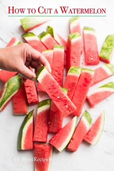 Easy way how to cut watermelon and how to cut a watermelon into sticks in two ways. How to cut and serve watermelon for Summer parties. This easy technique for cutting watermelon gets the most fruit out of the watermelon and easy ways to cut watermelon for watermelon salads and easy watermelon recipes