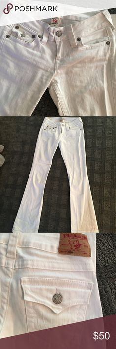 Super cute white true religion jeans Barely worn white boot cut through religion jeans style Becky , 33 inch Inseam True Religion Jeans Boot Cut