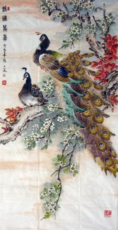 Image detail for -Chinese Peacock Peahen Painting Peafowl 2621003, 69cm x 138cm(27〃 x ...