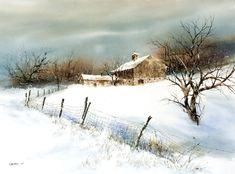 Wind Chill, watercolor by Richard DuBois. Watercolor Barns, Watercolor Landscape Paintings, Watercolor Artists, Watercolor Trees, Watercolor Portraits, Abstract Paintings, Oil Paintings, Painting Snow, Winter Painting