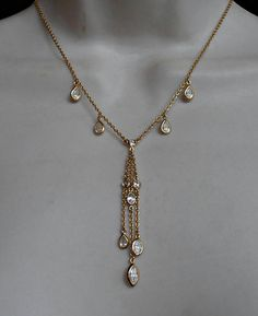 Sterling Crystal Station Necklace Open Bezel Lavalier