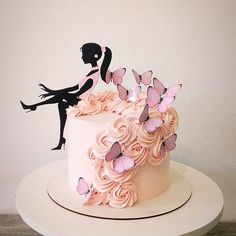Best 12 15 Fun, Colorful, and Popular Birthday Cake Ideas – SkillOfKing. Girly Birthday Cakes, Butterfly Birthday Cakes, Sweet 16 Birthday Cake, Elegant Birthday Cakes, 18th Birthday Cake, Beautiful Birthday Cakes, Birthday Cakes For Women, Butterfly Cakes, Silhouette Cake