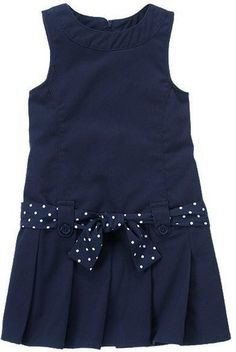 Gymboree Navy School Uniform Jumper Polka Dot Belt Pleated Sz 9 Girls New | eBay