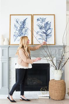 # fireplace art, Introducing the Exclusive SM Art Collection Above Fireplace Decor, Fireplace Logs, Fireplace Decorations, Stone Fireplaces, Fireplace Ideas, My Living Room, Living Room Decor, Mantel Styling, Artificial Fireplace