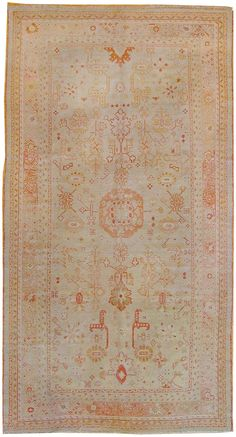 Oushak rugs, soft faded look.