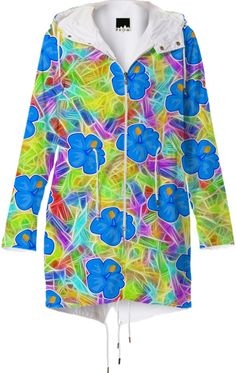HAWAIIAN BLUE FLOWER PATTERN #RAINCOAT from Print All Over Me #PAOM #gravityx9